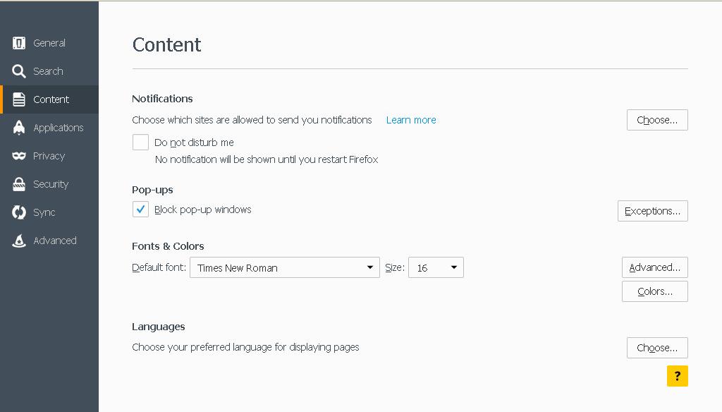 Mozilla Bloquear Pop-ups na guia Conteúdo